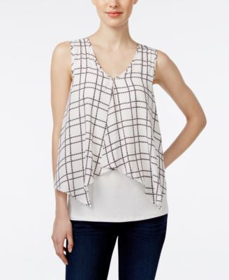 Bar III Sleeveless Printed Overlay Top, Only at Vogily