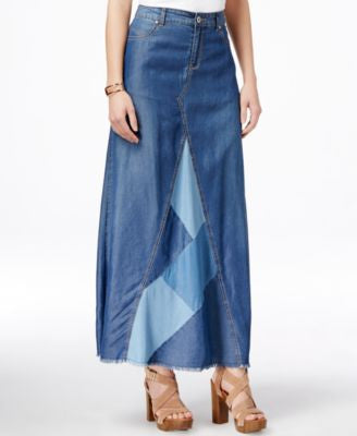 INC International Concepts Denim Patchwork Maxi Skirt, Only at Vogily