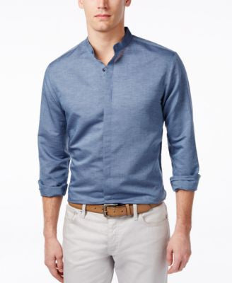 INC International Concepts Men's Long-Sleeve Banded Collar Linen Shirt, Only at Vogily