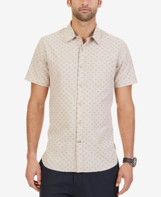 Nautica Men's Chambray Patterned Slim Fit Short-Sleeve Shirt