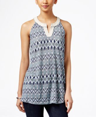 Style & Co. Split-Neck Sleeveless Top, Only at Vogily
