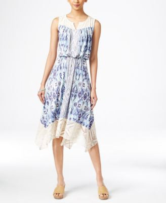 Style & Co. Petite Printed Handkerchief-Hem Dress, Only at Vogily