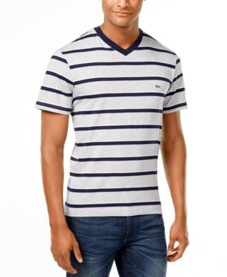Lacoste Men's Short-Sleeve Multi-Stripe V-Neck T-Shirt