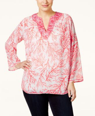 MICHAEL Michael Kors Plus Size Embroidered Split-Neck Top