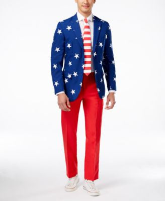 OppoSuits Stars & Stripes Slim-Fit Suit & Tie