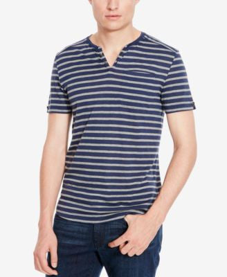 Kenneth Cole New York Men's Striped Slub Short-Sleeve Henley