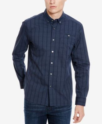 Kenneth Cole New York Men's Blue-Black Check Long-Sleeve Shirt