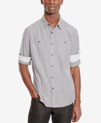 Kenneth Cole Reaction Men's Double-Pocket Check Long-Sleeve Shirt