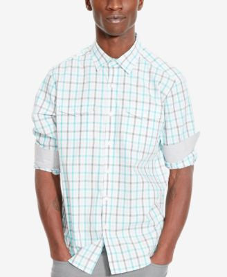 Kenneth Cole Reaction Men's Double-Pocket Grid-Pattern Long-Sleeve Shirt
