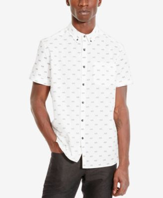 Kenneth Cole Reaction Men's Bicycle-Print Short-Sleeve Shirt
