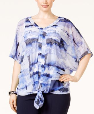 Alfani Plus Size Printed Tie-Front Top, Only at Vogily