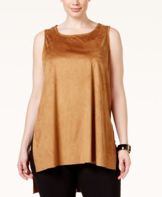 Alfani Plus Size Faux-Suede Tank Top, Only at Vogily