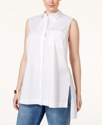 Alfani Plus Size Sleeveless High-Low Shirt, Only at Vogily