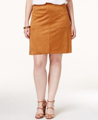 Alfani Plus Size Faux Suede A-Line Skirt, Only at Vogily