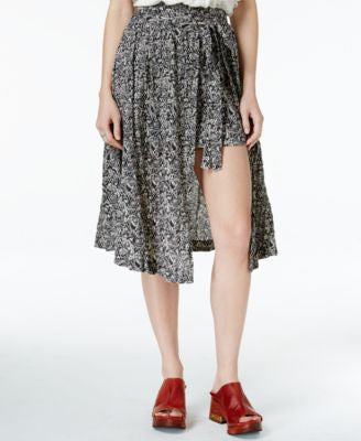 Free People Love Train Printed Asymmetrical-Hem Skirt