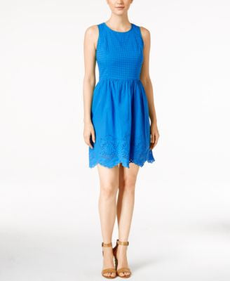 kensie Sleeveless Embroidered Scalloped-Hem Dress