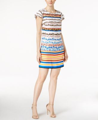 kensie Floral Striped Sheath Dress