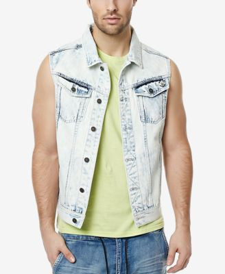 Buffalo David Bitton Men's Joey Graphic-Print Denim Vest