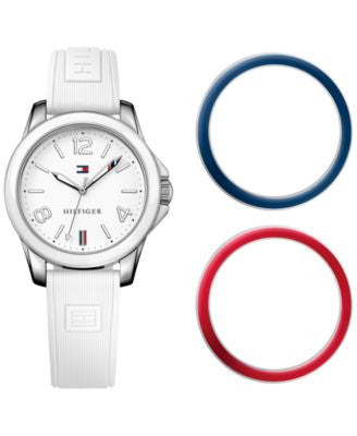 Tommy Hilfiger Women's Casual Sport White Silicone Strap Watch and Interchangeable Bezels Set 34mm 1