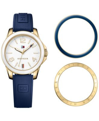 Tommy Hilfiger Women's Casual Sport Navy Silicone Strap Watch and Interchangeable Bezels Set 34mm 17