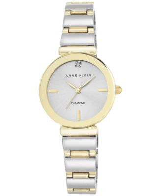 Anne Klein Women's Diamond Accent Two-Tone Stainless Steel Bracelet Watch 28mm AK-2435SVTT