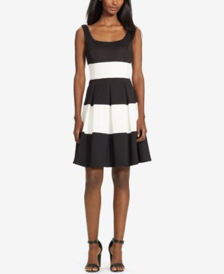 Lauren Ralph Lauren Saniya Pleated Colorblocked A-Line Dress