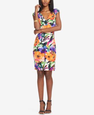 Lauren Ralph Lauren Adara Floral-Print Surplice Sheath Dress