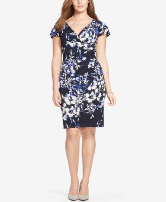 Lauren Ralph Lauren Plus Size Floral-Print Surplice Dress