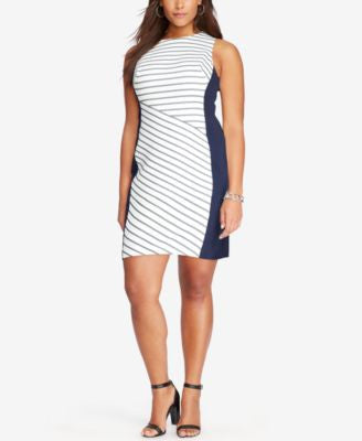 Lauren Ralph Lauren Plus Size Sleeveless Striped Dress