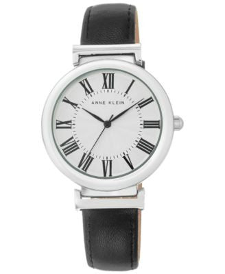 Anne Klein Women's Black Leather Strap Watch 38mm AK-2137SVBK