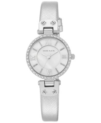 Anne Klein Women's Silver-Tone Textured Saffiano Faux Leather Strap Watch 28mm AK-2215MPSI
