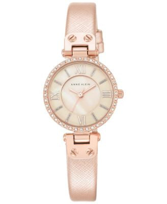 Anne Klein Women's Rose Textured Saffiano Faux Leather Strap Watch 28mm AK-2214RGLP