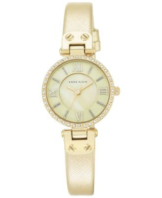 Anne Klein Women's Gold-Tone Textured Saffiano Faux Leather Strap Watch 28mm AK-2214CMGD