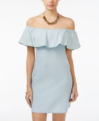 American Rag Ruffled Off-The-Shoulder Chambray Dress, Only at Vogily