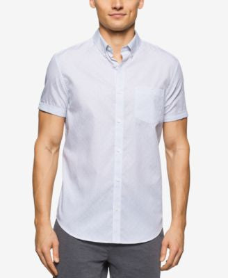 Calvin Klein Men's Small-Grid Short-Sleeve Shirt