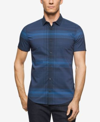Calvin Klein Men's Large Plaid Short-Sleeve Shirt