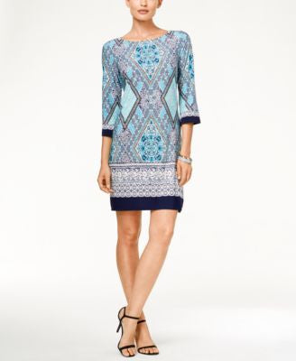Sandra Darren Three-Quarter-Sleeve Geo-Print Shift Dress