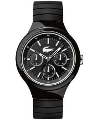 Lacoste Men's Borneo Black Silicone Strap Watch 44mm 2010870