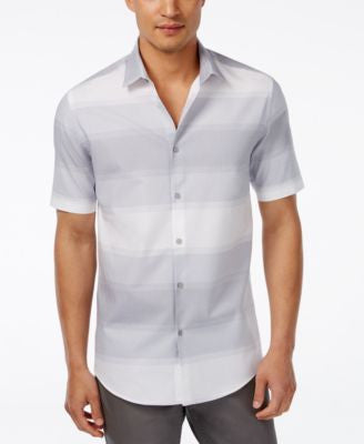 Alfani Men's Big and Tall Horizontal-Stripe Short-Sleeve Shirt, Only at Vogily
