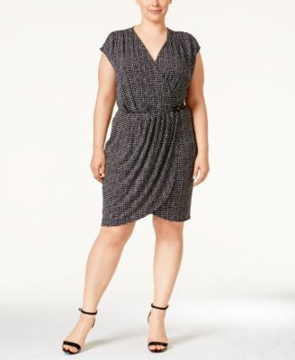 Michael Kors Plus Size Printed Faux-Wrap Dress