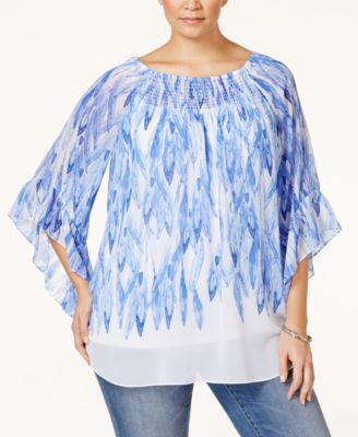 Alfani Plus Size Printed Peasant Top, Only at Vogily