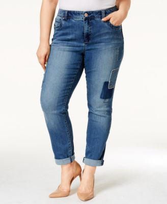 INC International Concepts Plus Size Patched Boyfriend Jeans, Only at Vogily