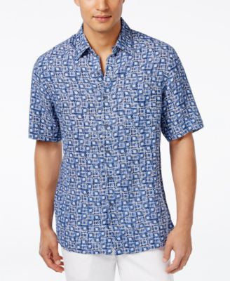 Tasso Elba Men's Scarpa Tile Short-Sleeve Shirt, Only at Vogily