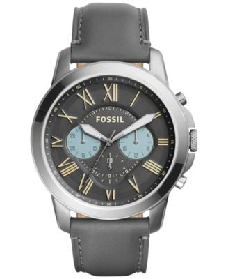 Fossil Men's Chronograph Grant Gray Leather Strap Watch 44mm FS5183