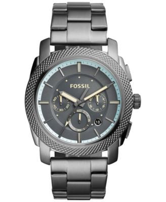 Fossil Men's Chronograph Machine Smoke-Tone Stainless Steel Bracelet Watch 45mm FS5172