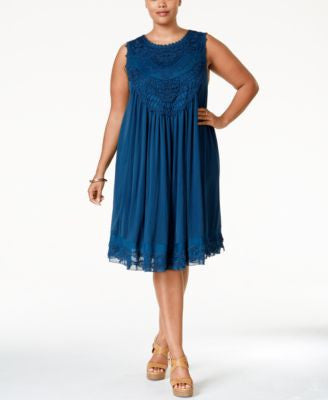 American Rag Plus Size Crochet-Front Layered Shift Dress, Only at Vogily