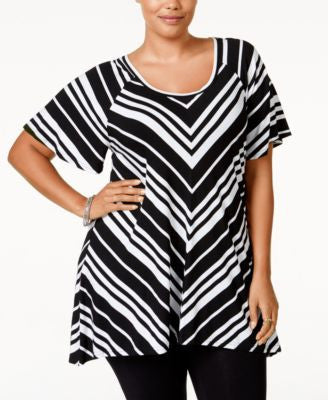 American Rag Plus Size Striped Tunic Top, Only at Vogily