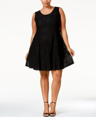 American Rag Plus Size Lace Fit & Flare Dress, Only at Vogily
