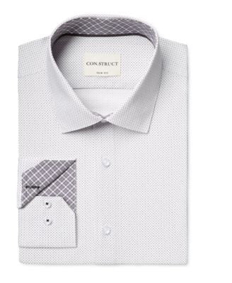 Con.Struct Men's Slim-Fit Dot-Pattern Dress Shirt