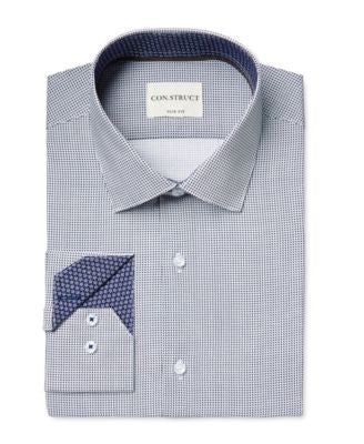 Con.Struct Men's Slim-Fit Square-Pattern Dress Shirt